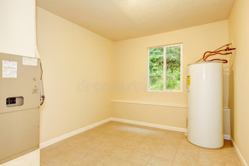 Boiler room with a heating system in a private house. Northwest, USA stock photos