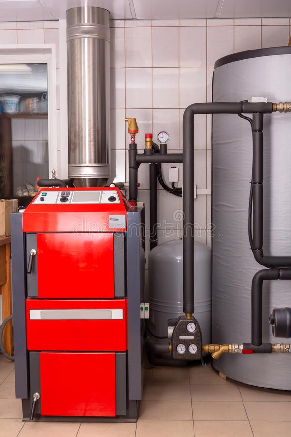 Boiler room for a private house. Auxiliary heating. royalty free stock photo