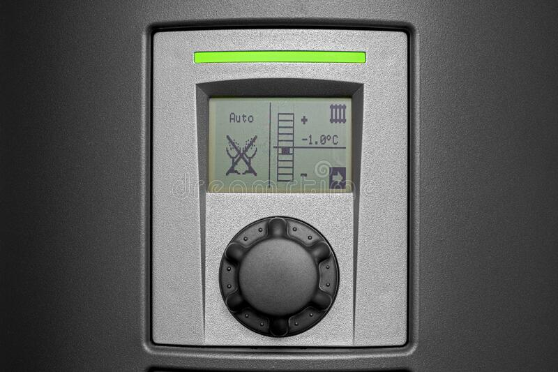 Control panel of a electrical heat pump in a private household stock photography