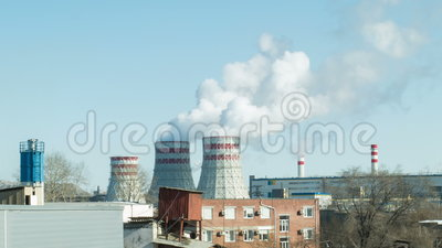 Factories and ecology. Air pollution stock video footage