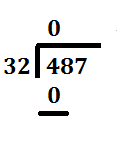 step 2 subtraction in long division problem 487 divided by 32