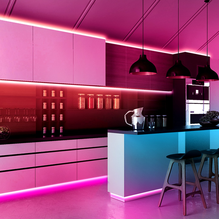 led kitchen strip lights under cabinet